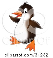 Clipart Illustration Of A Brown And White Penguin Doing A Happy Dance by Alex Bannykh