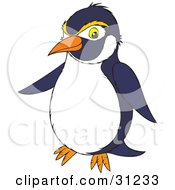Clipart Illustration Of A Navy Blue And White Penguin With Yellow Eyebrows by Alex Bannykh