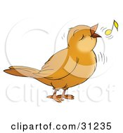 Clipart Illustration Of A Happy Brown Bird Singing Or Whistling With A Yellow Note