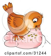 Clipart Illustration Of A Cute Brown Bird Eating Seed From A Human Hand