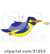 Clipart Illustration Of A Blue And Yellow Penguin Swimming With A Yellow Fish by Alex Bannykh