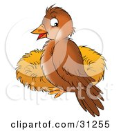 Clipart Illustration Of A Cute Brown Bird Perched On The Rim Of A Nest by Alex Bannykh
