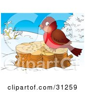 Clipart Illustration Of A Cute Brown And Robin Bird Eating Seed On A Stump On A Winter Day