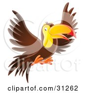 Clipart Illustration Of A Friendly Brown And Yellow Toucan In Flight by Alex Bannykh