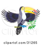 Clipart Illustration Of A Dark Blue Toucan With A Yellow Face White Belly Blue Feet And Red And Yellow Beak Landing On A Tree Branch by Alex Bannykh