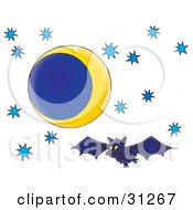 Happy Blue Bat Flying In The Night Sky Of Blue Stars And A Crescent Moon