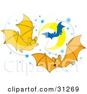 Three Happy Bats Flying In The Sky At Night Against A Background Of Blue Stars And A Crescent Moon