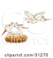 Clipart Illustration Of A White Bird Flying Away From A Nest Of Baby Birds In Seek Of Food by Alex Bannykh