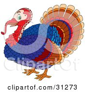 Clipart Illustration Of A Colorful Male Turkey Bird With A Red Head And Long Snood