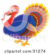 Happy Colorful Tom Turkey With A Red Head And Long Snood