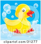 Cute Yellow Rubber Duck Relaxing In A Tub With Bubbles On A Blue Background