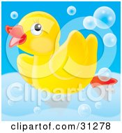 Cute Yellow Rubber Ducky Swimming Around In A Tub With Bubbles On A Blue Background