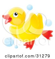 Clipart Illustration Of A Cute Yellow Rubber Ducky Running Through Blue Bubbles On A White Background