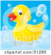 Cute Yellow Rubber Duck Swimming With Bubbles In A Tub