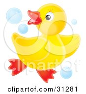 Clipart Illustration Of A Playful Yellow Rubber Ducky Dancing In Blue Bubbles On A White Background
