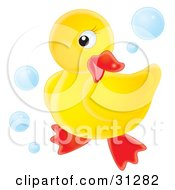 Cute Yellow Rubber Ducky Posing On A White Background Surrounded By Blue Bubbles