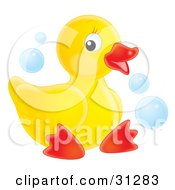 Cute Yellow Rubber Ducky Sitting On A White Background With Blue Bubbles