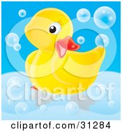 Cute Yellow Rubber Duck Posing In A Tub Surrounded By Bubbles On A Blue Background