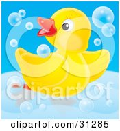 Clipart Illustration Of A Playful Yellow Rubber Duck Dancing In Blue Bubbles In A Tub On A Blue Background by Alex Bannykh