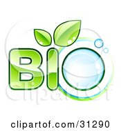 Clipart Illustration Of Green BIO Text With Leaves Sprouting From The Letter I And A Water Droplet As The Letter O