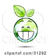 Clipart Illustration Of A Grinning Earth Character With Green Leaves Above