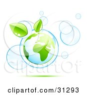 Planet Earth And Two Green Leaves Floating Inside Blue Bubbles