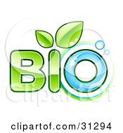 Clipart Illustration Of BIO Text With Green Leaves Sprouting From The Letter I And Blue Water As The Letter O