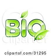 Clipart Illustration Of Green Leaves Above The I And Over The O Of BIO Text