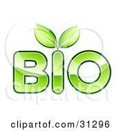 Clipart Illustration Of Two Green Leaves Sprouting From BIO Text
