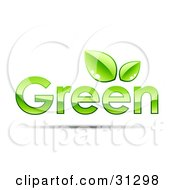 Clipart Illustration Of GREEN Text With Two Leaves Above The Second Letter E