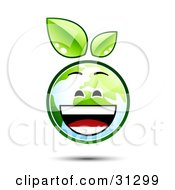Clipart Illustration Of A Laughing Earth Character With Green Leaves Above