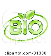 Clipart Illustration Of Green BIO Text With Leaves Sprouting From The Letter I And A Green Dash