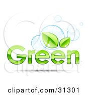Clipart Illustration Of GREEN Text With Two Leaves Above The Second Letter E With Blue Bubbles