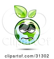 Clipart Illustration Of A Sick Or Depressed Earth Character With Green Leaves Above