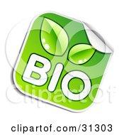 Clipart Illustration Of A Square Sticker With White BIO Text And Green Leaves Peeling In The Corner