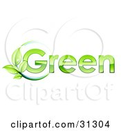 Clipart Illustration Of A Leafy Vine On A Circle Of Blue By GREEN Text