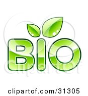 Clipart Illustration Of BIO Text With Green Leaves Sprouting From The Letter I