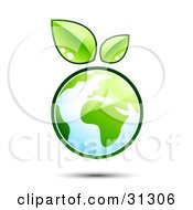 Clipart Illustration Of Planet Earth Outlined In Green With Two Fresh Leaves Floating Above