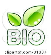 Clipart Illustration Of White BIO Text Outlined In Green With Two Leaves Above