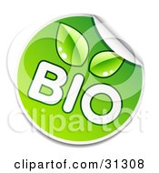 Clipart Illustration Of A Peeling Round Sticker With White BIO Text And Green Leaves