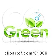 Clipart Illustration Of Blue Bubbles Over GREEN Text With Two Leaves Above The Second Letter E