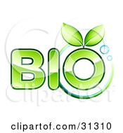 Clipart Illustration Of Two Green Leaves Sprouting From The O Of The Word Bio Text With A Circle And Bubbles