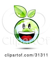 Happy And Energetic Earth Character With Green Leaves Above Smiling