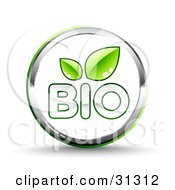 Shiny White Bio Website Button With Two Green Leaves And Chrome Trim