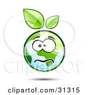 Clipart Illustration Of A Stressed Or Nervous Earth Character With Green Leaves Above