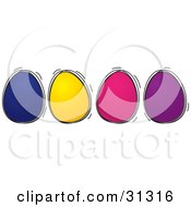 Four Blue Yellow Pink And Purple Colored Easter Eggs In A Row