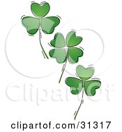 Three Falling Green Four Leaf Shamrock Clover Leaves On A White Background