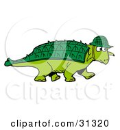 Clipart Illustration Of A Green Armored Dinosaur With A Spiked Back Plate Wearing A Hat by LaffToon