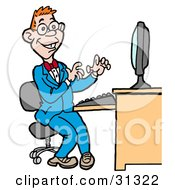 Clipart Illustration Of A Happy Red Haired Computer Geek Man In A Blue Suit Working On A Computer