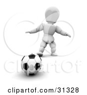 White Character Standing Behind A Soccer Ball On A Field
